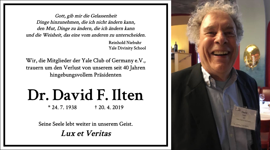 Call for Contributions towards the Todesanzeige for our Club President David Ilten