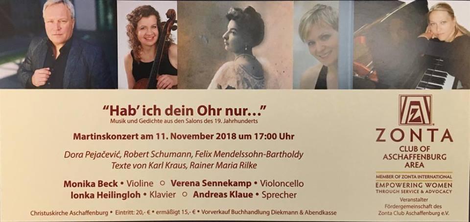 """""""Hab ich dein Ohr nur..."""" Concert with Alumn Verena Sennenkamp"""
